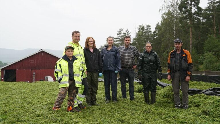 Ole, Rune, Marit, Maren Andrine, Ole Martin, Eline og Erling var fornøyd når siste lasset var lagt i siloen. Et par timer etter var siloen ferdig pakket.